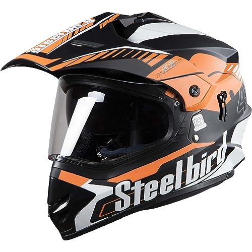 Steelbird Off Road Racing SB-42 Helmet with Plain Visor (Matt Black and Light Orange, L)