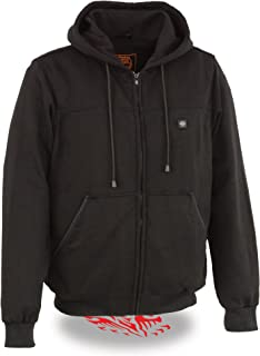 Milwaukee Performance Textile-Men's Zipper Front Heated Hoodie w/Front & Back Heating Elements Portable Battery Pack Included-BLACK-2X 1713