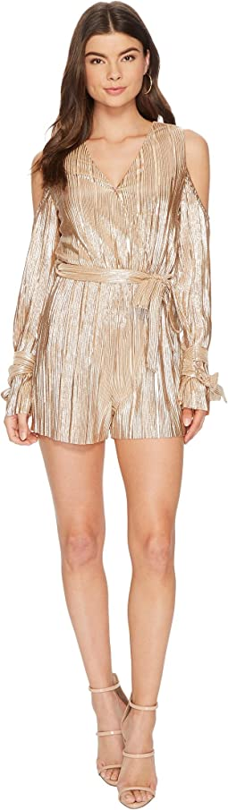 Pleated Cold-Shoulder Romper