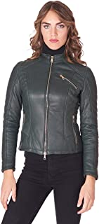 D'Arienzo Giacca in Pelle Naturale Donna Biker Verde Vintage Giacca Trapuntata Giubbotto Moto Vera Pelle Made in Italy GENY