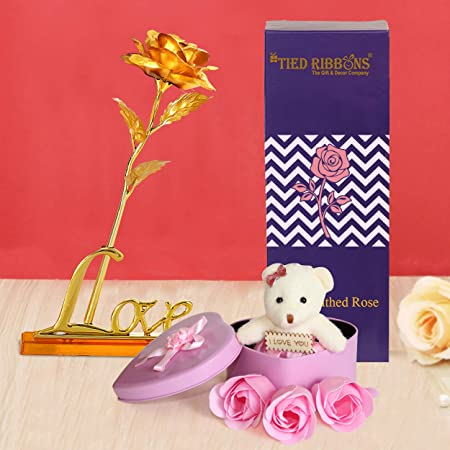 TIED RIBBONS Valentine Gift for Boyfriend Girlfriend Husband Wife Girls Boys - Gift Combo Pack (Valentines Special 24K Gold Plated Rose, Scented Rose Flowers with Teddy Gift Box)