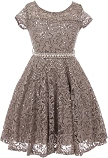 iGirlDress Cap Sleeve Floral Lace Glitter Pearl Holiday Party Flower Girl Dress (Size 4-14)