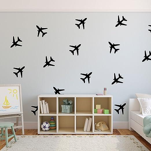 Juego De 20 Pegatinas De Vinilo Para Pared Diseño De Aviones 5 0 X 5 0 In Cada Una Pegatinas Adhesivas Para Niños Niños Adolescentes Dormitorio Sala De Juegos Sala De Estar Hogar