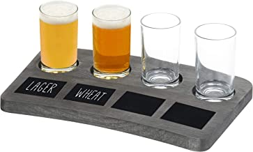 MyGift 4-Glass Vintage Grey Wood Beer Flight Tray With Chalkboard Labels