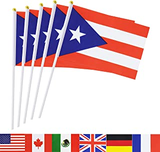 TSMD Puerto Rico Stick Flag, 50 Pack Hand Held Small Puerto Rican National Flags On Stick,International World Country Stick Flags Banners,Party Decorations for World Cup,Sports Clubs,Festival Events