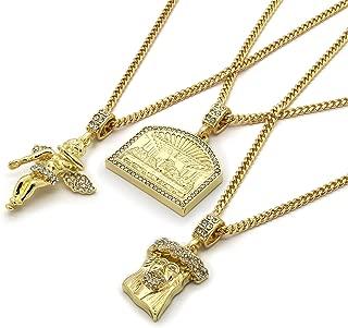 L2JKinc Mens 14k Gold Plated High Fashion Hip Hop Jesus, Angel, Last Supper Pendant 3mm 24