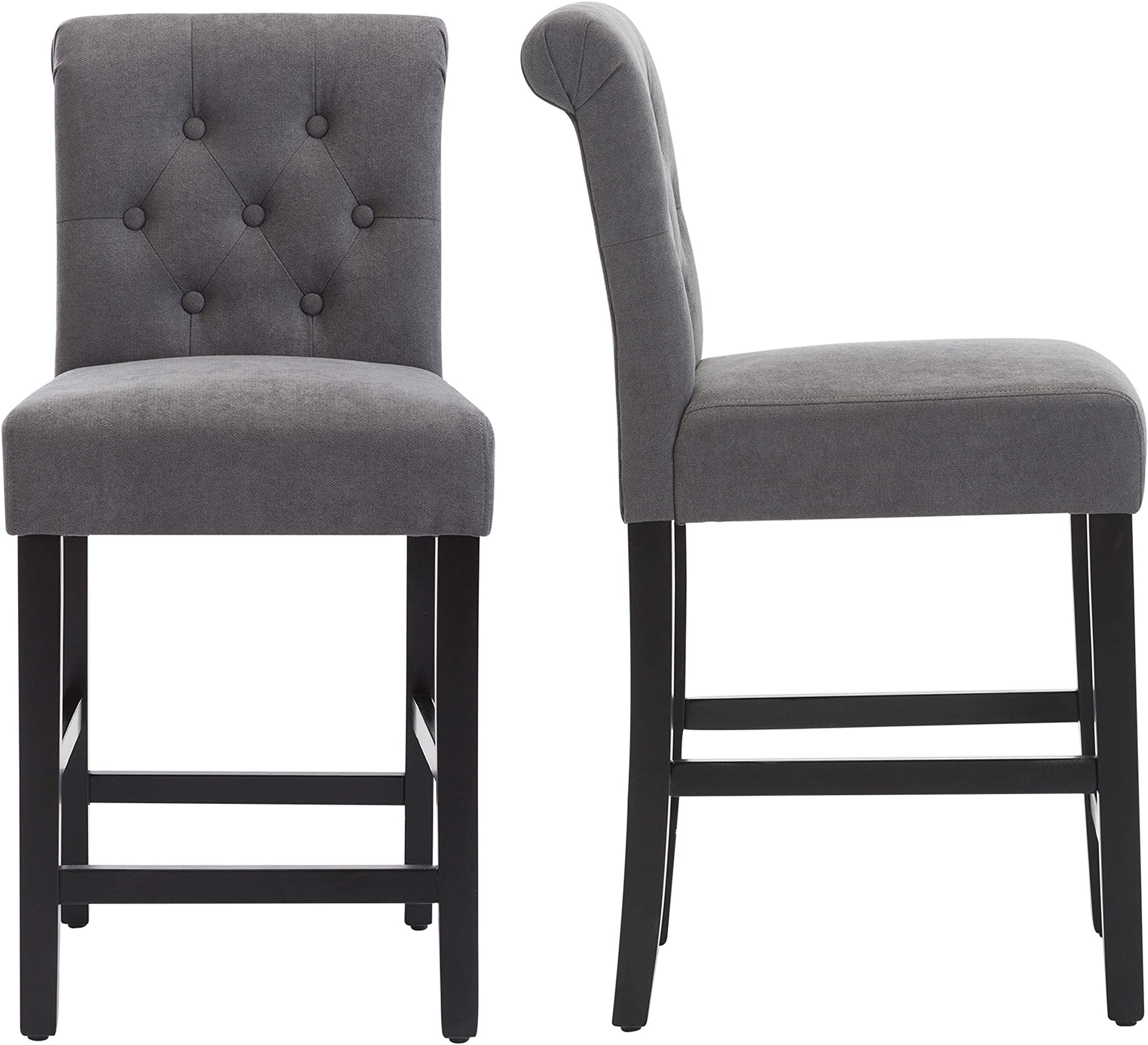 LSSBOUGHT 24 Inches Stylish Fabric Counter Height Stools with Solid Wood Legs, Set of 2 (Gray)