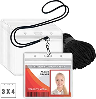 MIFFLIN Lanyard with Clear Horizontal ID Holder (Black, 3x4 Inch, 100 PK), Name Tag with Lanyard Set