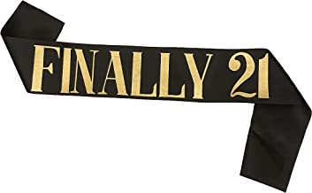 Dadam Birthday Sash Black Satin Finally 21 Sash with Gold Glitter Lettering Party Favors, Supplies and Decorations