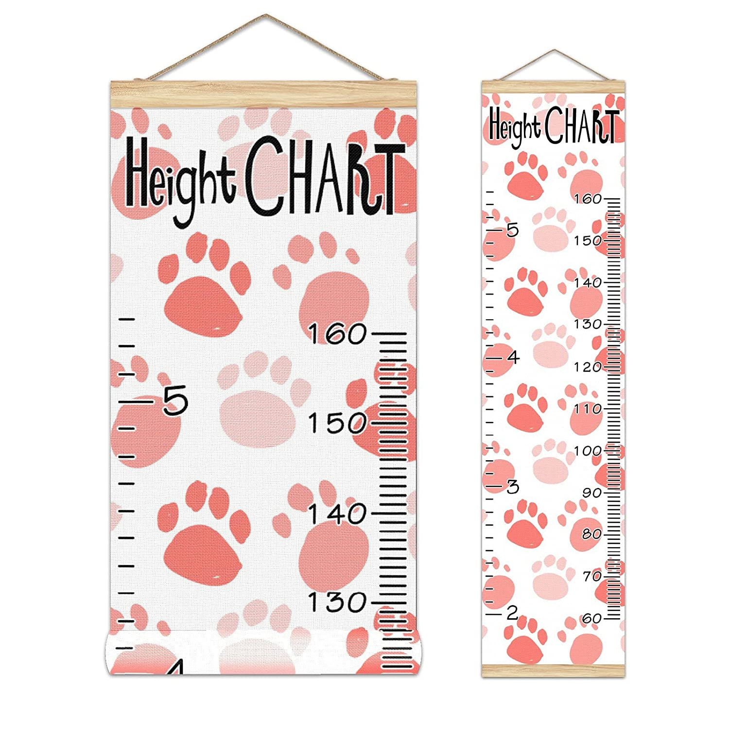Growth All items in the store Los Angeles Mall Chart Kid's Height Paw Pattern-01 Red