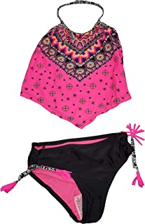 1b7f70ef0a Wonder Nation Girls 2 Piece Pink Halter Neck Tankini Swimsuit