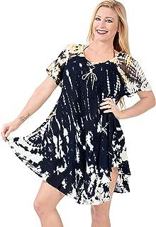 LA LEELA Women's Casual Summer Tank Swing Sun Dresses Cover Up Hand Tie Dye B