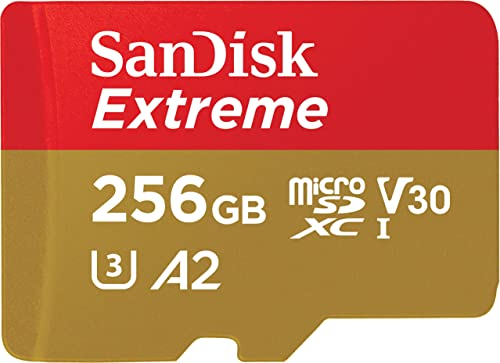SanDisk 256GB Extreme microSDXC UHS-I Memory Card with Adapter - Up to 160MB/s C10 U3 V30 4K A2 Micro SD - SDSQXA1-256G-GN6MA
