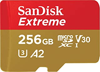 Sandisk Extreme 256GB microSD UHS-I Card with Adapter - 160MB/s U3 A2 - SDSQXA1-256G-GN6MA, Black