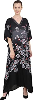 Miss Lavish London Kaftan Tunic One Size Beach Cover Up Maxi Dress Sleepwear Embellished Kimonos [Black]