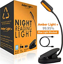 Amber Light Rechargeable Blue Light Blocking Reading Light | Warm LED Light for Strain-Free, Healthy Eyes | Base Clamp for Hands-Free Use On The Go | Perfect for Readers, Students, Kids, and More