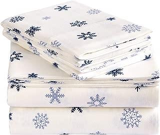 Pinzon Cotton Flannel Bed Sheet Set - Twin XL, Falling Snowflake Blue