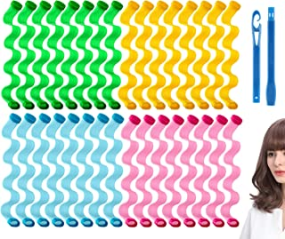 32 Pieces Hair Curlers 11.8 Inch Wave Formers Styling Kit, Heatless Wavy Styles Spiral Curlers with 2 Styling Hooks, Magic...