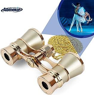 AomekieOperaGlassesBinoculars3X25TheaterGlassesMiniBinocularCompact with Chain forAdultsWomenKidsinMusicalConcert(Gold)