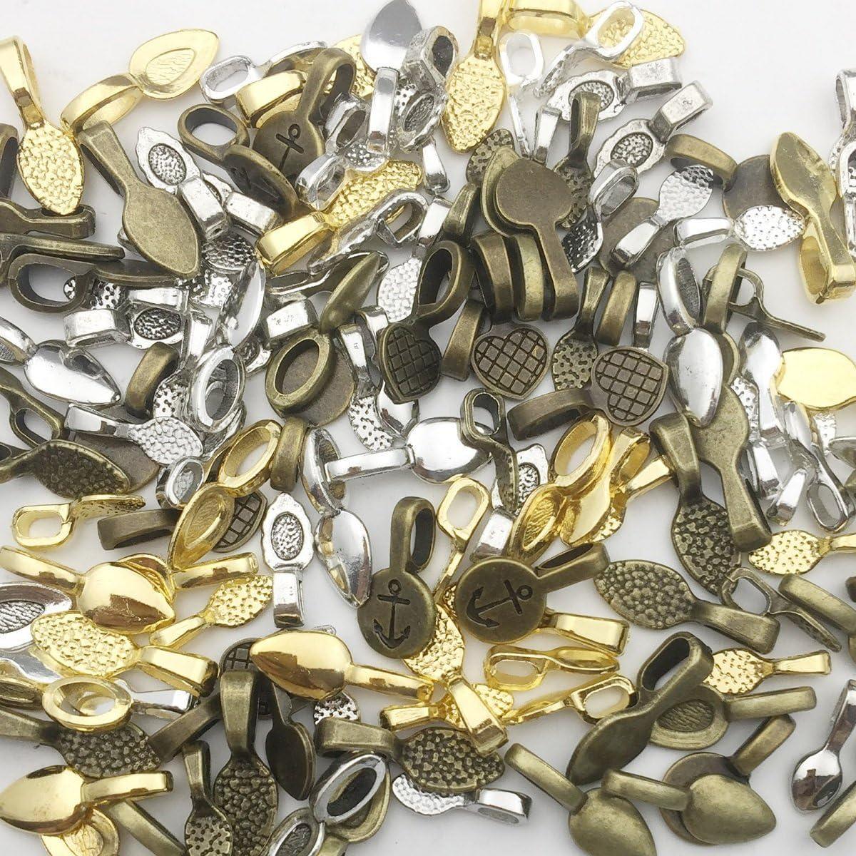 Hang Bails Pendant Bails Antiqued Silver Bails Blank Bails Jewelry Bails Findings Charm Hangers Pendant Hangers 10 pieces