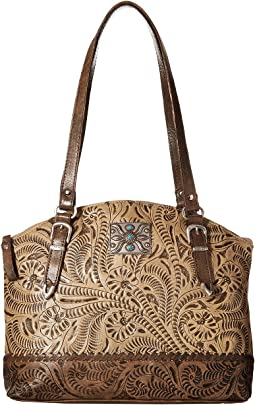 American West Annie's Secret Zip Top Half Moon Tote w/ Secret Compartment