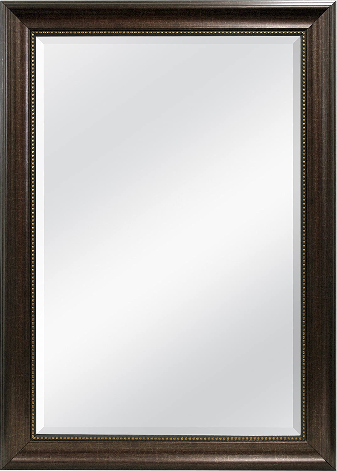 MCS 20677 Beaded Trim Finish 24 by 36-Inch Beveled Mirror with 30.2 by 40.2-Inch Frame, Bronze