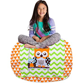 "Posh Stuffable Kids Stuffed Animal Storage Bean Bag Chair Cover - Childrens Toy Organizer, Large 38"" - Canvas Owls Green and Orange"