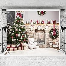 Kate 10x8ft Christmas Backdrop for Photography White Brick Fireplace Bear Christmas Tree Santa Backgrounds