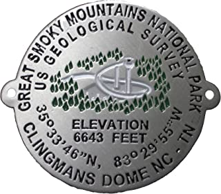 Great Smoky Mountains - Clingman's Dome Benchmark - Hiking Stick Medallion