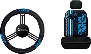 Fremont Die NFL Carolina Panthers Rally Seat Cover with Leather Steering Wheel Cover, One Size, Black