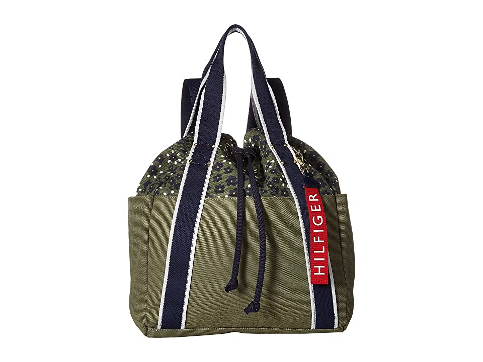 Tommy Hilfiger Classic Tommy Drawstring Backpack (Olive) Backpack Bags
