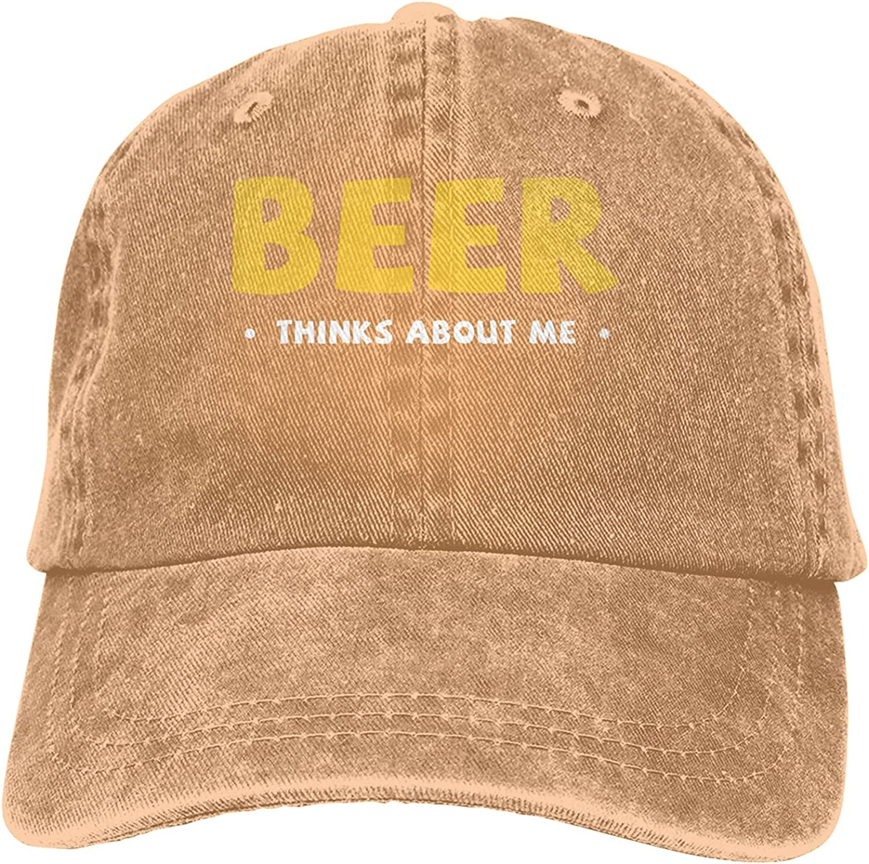 Beer Thinks About Me Baseball Cap Trucker Hat Retro Cowboy Dad Hat Classic Adjustable Sports Cap for Men&Women Natural Black