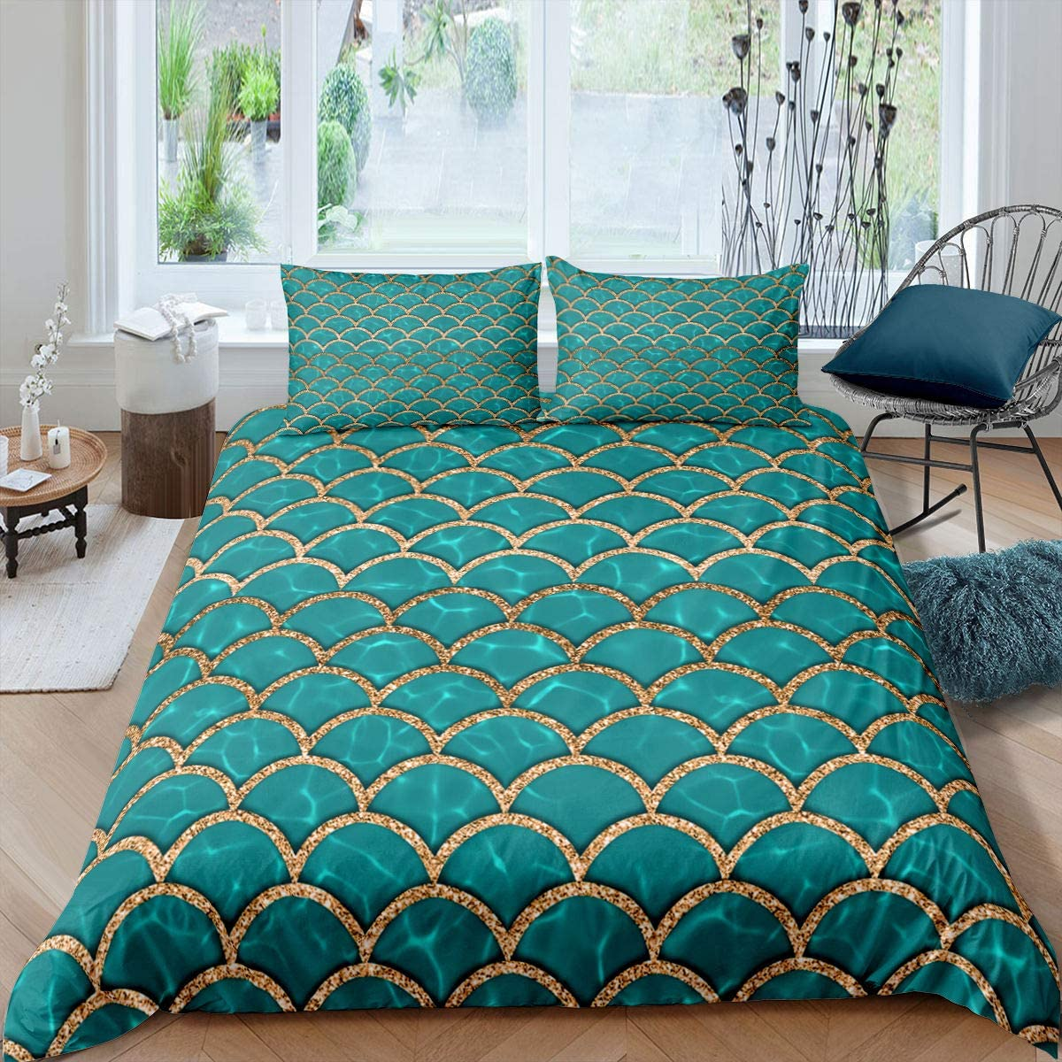 Mermaid Bedding Set Directly managed store Green Fish Decor Cover Max 58% OFF Comforter Scales