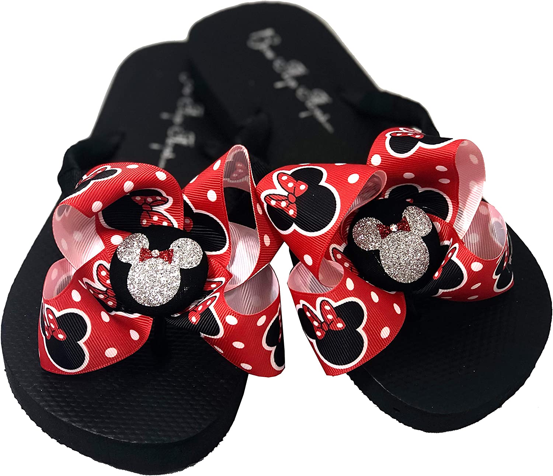 Minnie Mouse Bow Flip Flops, Glitter Flip Flops for Women, Toddl