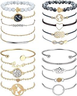 Yadoca, set di 20 braccialetti a strati da donna, impilabili, con tartaruga, ananas, loto, braccialetti con perline assort...