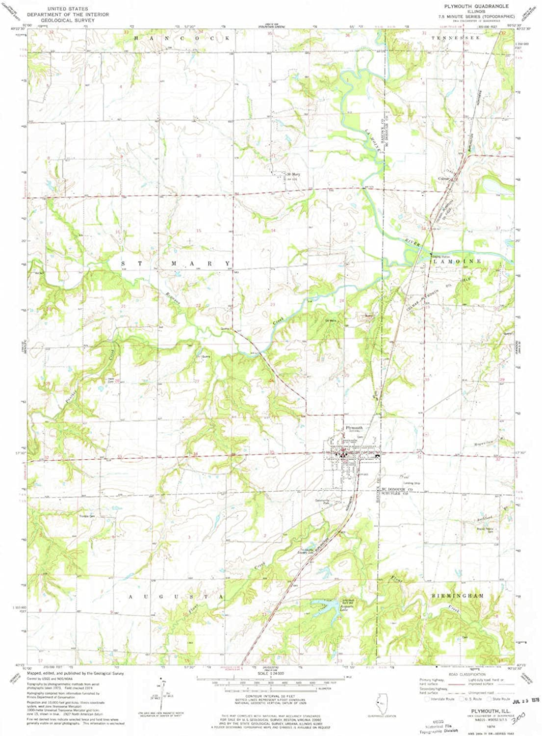 Plymouth IL topo map, 1 24000 Scale, 7.5 X 7.5 Minute, Historical, 1974, Updated 1978, 26.8 x 22 in