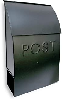 NACH MB-44902 POST Milano Pointed Mailbox with Newspaper Holder - Wall Mounted Post Box, Black, 9.5 x 4 x 15 inch