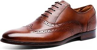 DESAI Men's Oxford Leather Tinsley Wingtip Brogue Lace Up Dress Shoes