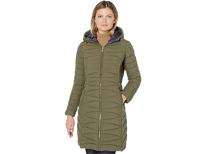 Bernardo Fashions Ecoplume Soft Touch Walker Coat /w Printed Liner