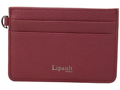 Lipault Paris Plume Elegance Leather Card Holder (Ruby) Credit card Wallet