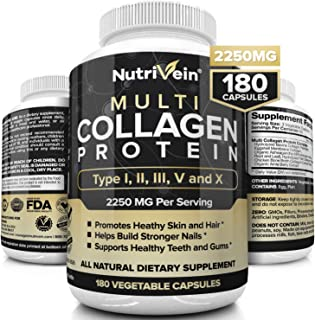 Nutrivein Multi Collagen Pills 2250mg - 180 Collagen Capsules - Type I, II, III, V, X - Anti-Aging, Healthy Joints, Hair, Skin, Bones, Nails, Hydrolyzed Protein Collagen Peptides for Woman and Men