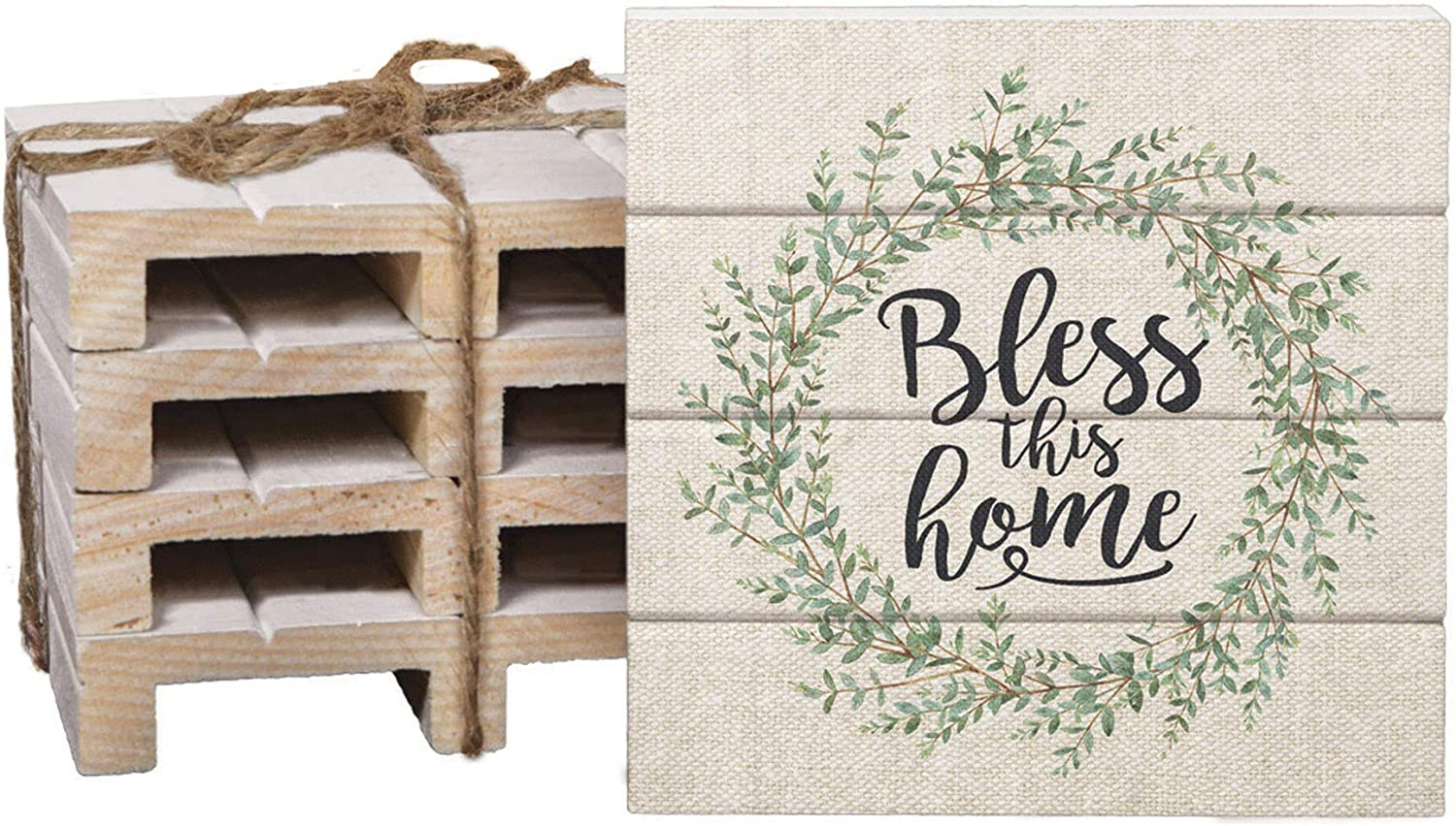 Bless This Home Wreath Linen Look 4 x 4 Inch Dried Pine Wood Pallet Coaster, Pack of 4