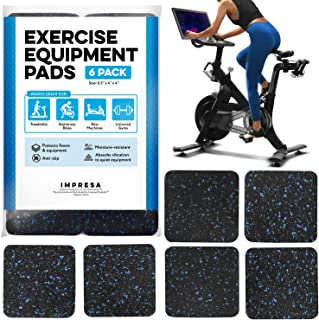 "IMPRESA Exercise Equipment Mat 4"" x 4"" x 0.5"" Pads Pack of 6 - Treadmill Mat for Carpet Protection - Protective Anti-Slip ..."