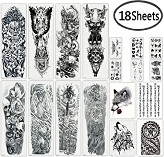 DaLin Extra Large Black Full Arm Temporary Tattoos and Half Arm Tattoo Sleeves for Men Women, 18 Sheets (Collection 3)