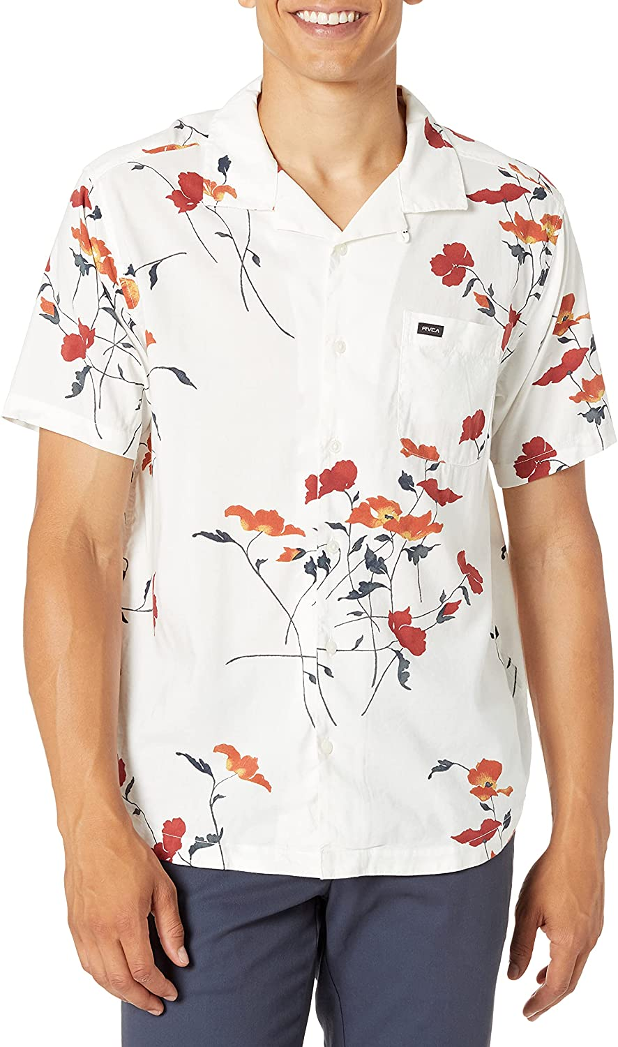 RVCA Men's Slim Fit Short Sleeve Stretch Woven Button Up