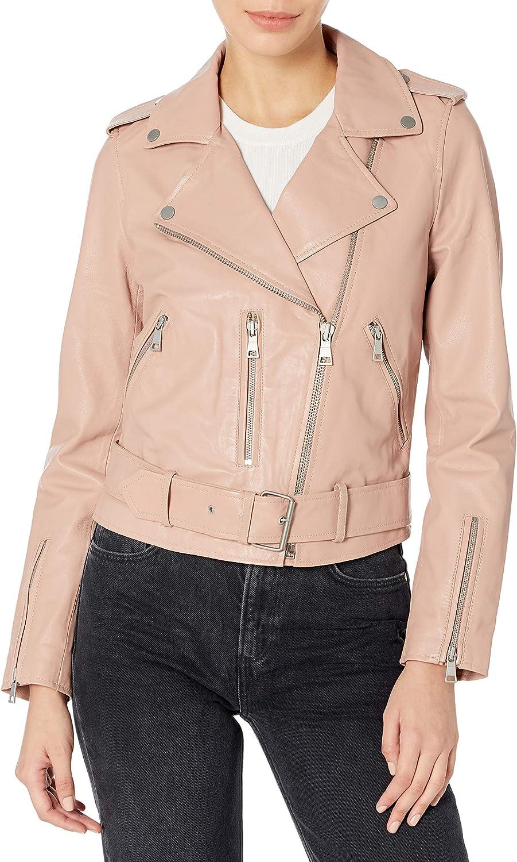 Bagatelle Women's Washed Leather Biker Jacket