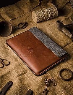 Funda/Cubierta para MacBook Pro 13/15/16 pulgadas 100% fieltro de lana hecho a mano, cuero estilo Crazy Horse marrón, fund...