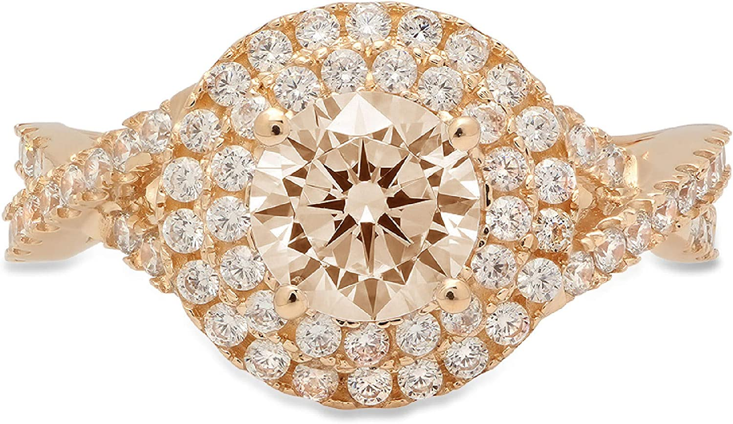 Clara Pucci 1.5 ct Round Free Shipping Cheap Max 81% OFF Bargain Gift Cut halo Solitaire Genu double Stunning