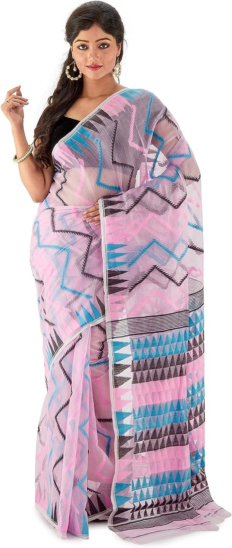 Sarees of Bengal Women's Cotton Silk Handloom Dhakai Jamdani Saree