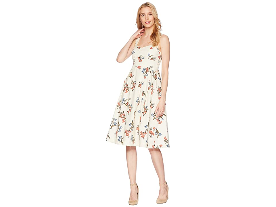 Donna Morgan Printed Cotton Poplin Fit and Flare (Ivory/Blue Multi) Women